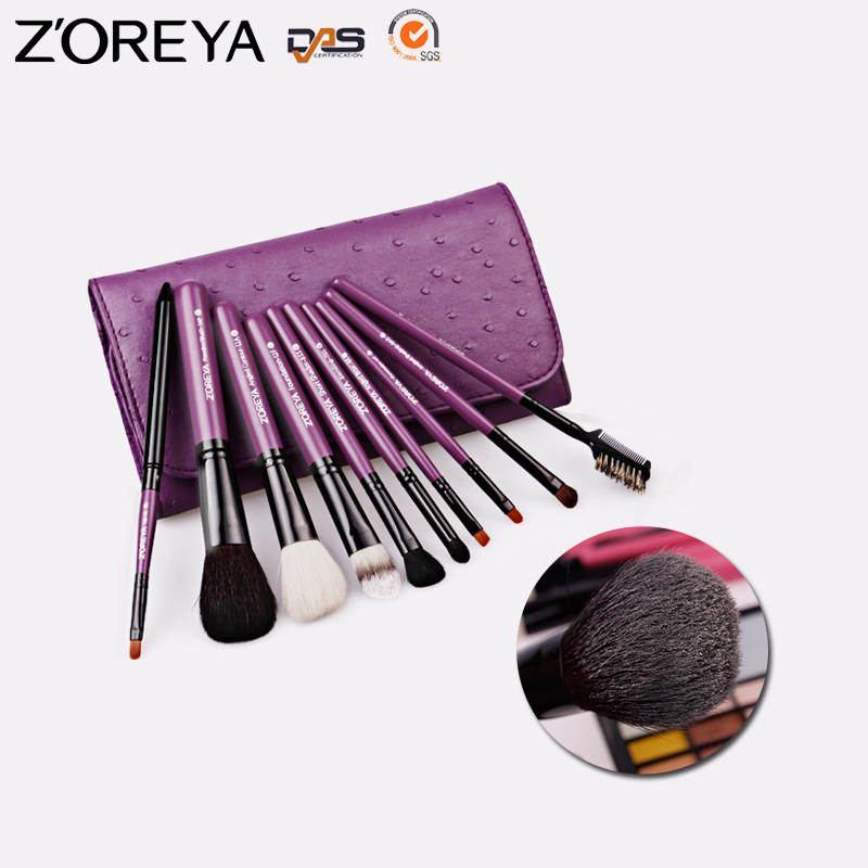 Stock Wholesale ZP10 Zoreya Natural Goat Hair Wholesale Makeup Brush Set