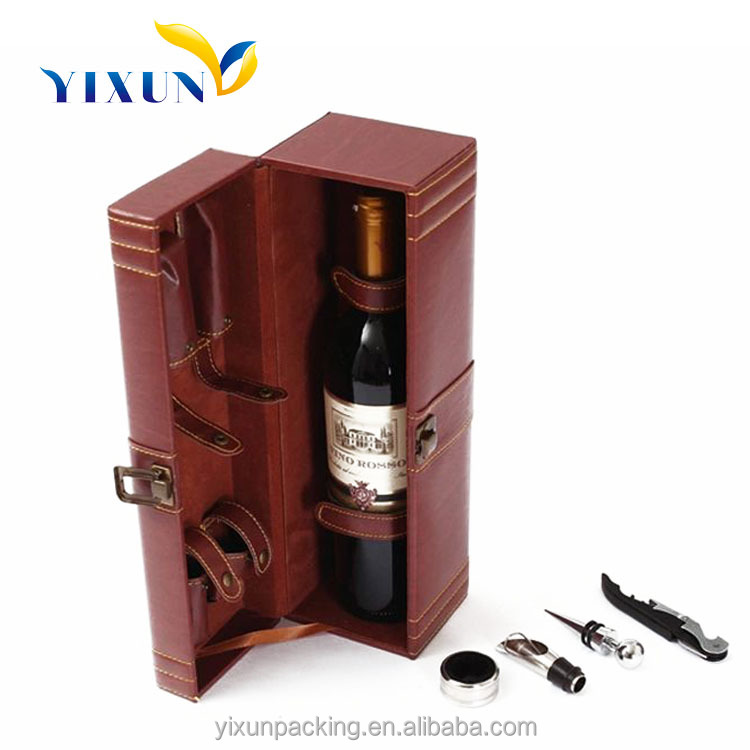 High Quality Map pattern portable leather wine carrier