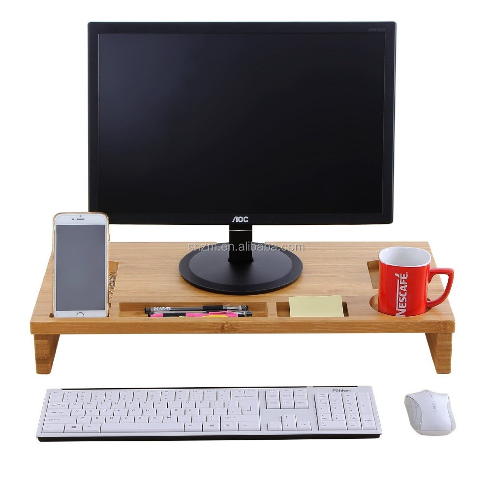 Bamboo Monitor Riser Large Size Laptop TV Printer Desktop Stand Storage Organizer w' Slots for Office Supplies and Storage Space