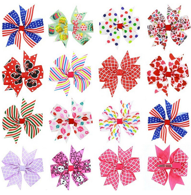 Fashion design wholesale baby bow hair clips printing ribbon butterfly hairpin knot headwrap hair barrette girls accessories