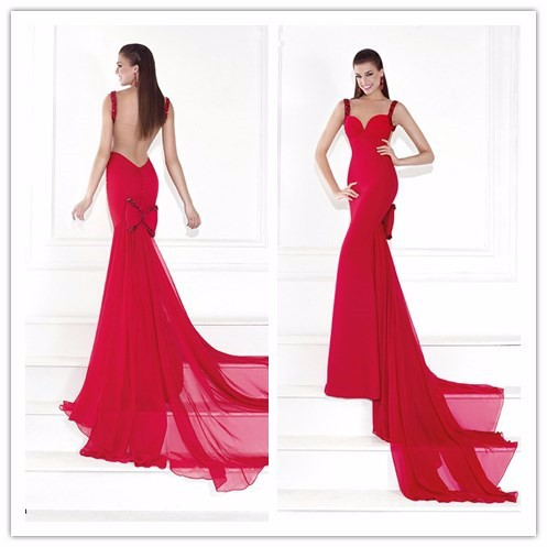 Big size Red Chiffon Sweetheart Mermaid Long evening dress vestido de noite(YASA-817)