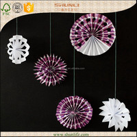wedding Party decoration hanging Paper Wheel Fan Flowers Background