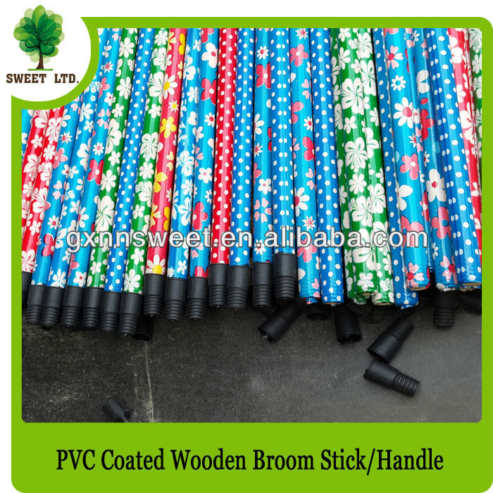 Plastic broom handle made of wood with Plastic screw