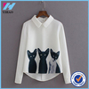 Yihao New 2015 Autumn New Models Fashion Three Cats Pattern Women Chiffon Blouses Long Sleeve Casual Shirts Ladies Casual Tops