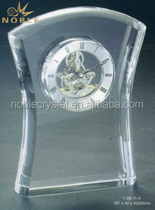Noble Elegant Transparent 3d Laser Engraving Crystal Desktop Clock