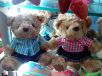 T-shirt dressed teddy bear 20 cm , Couple mini teddy bear , couple t-shirt design
