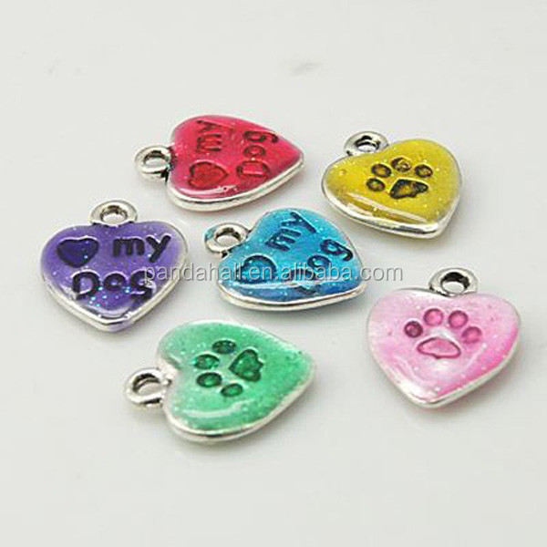 Small Quantity 10PC/Bag LOVE MY DOG Text Enamel Heart Bracelet <strong>Charms</strong>(X-ENAM-C1422-M)