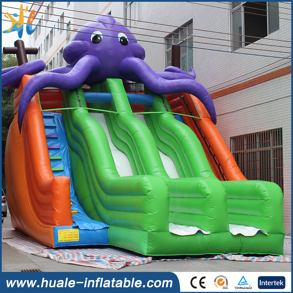 Cartoon theme octopus inflatable beach water slide for pool