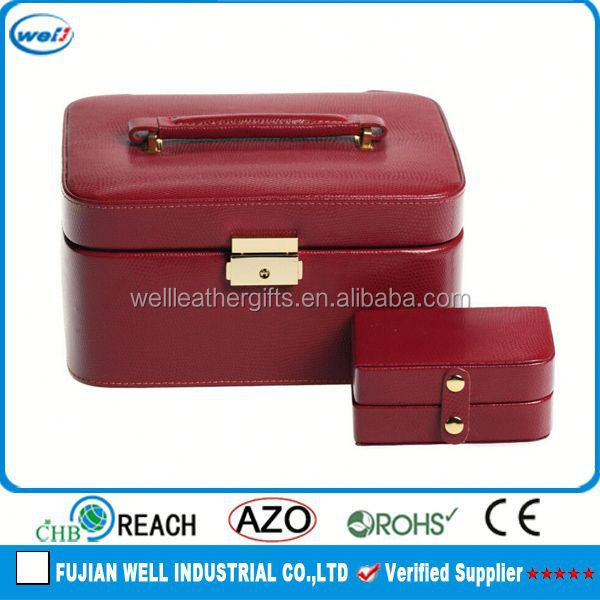 Personalized Red Leather Magenta Jewelry Box - 9L x 4.75H in.