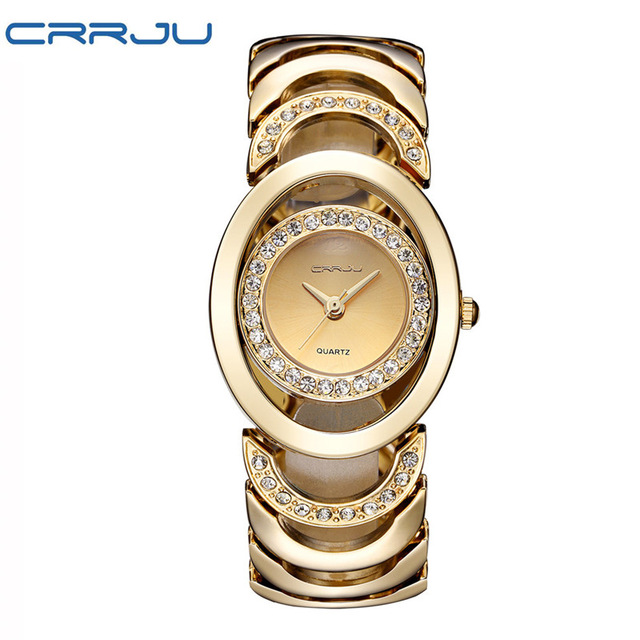 2017 Famous Brands CRRJU Luxury Gold Fashion Design Bracelet Watches Ladies Women Wrist CRRJU Watches