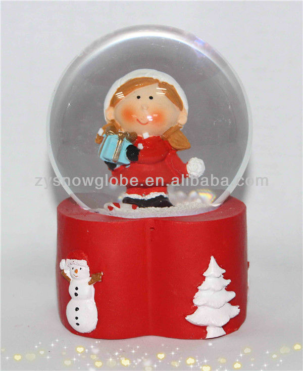Resin baby clear glass snow globe