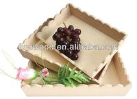 2015 hot selling unfinished wooden fruit tray wooden serving tray for vegetable and furits