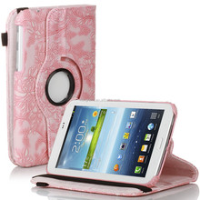 Rotating embossed flower PU leather case for Samsung galaxy Tab 3 7.0 P3200 pink