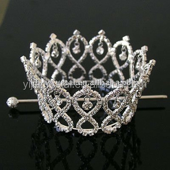 silver rhinestone full round crown