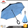 Factory price wholesale C-Handle up side down 23 inch double layer windproof umbrella