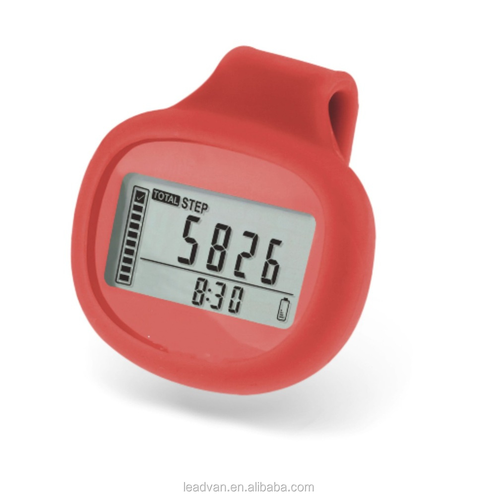Rubber Cover 3D Digital Pedometers With Belt Clip