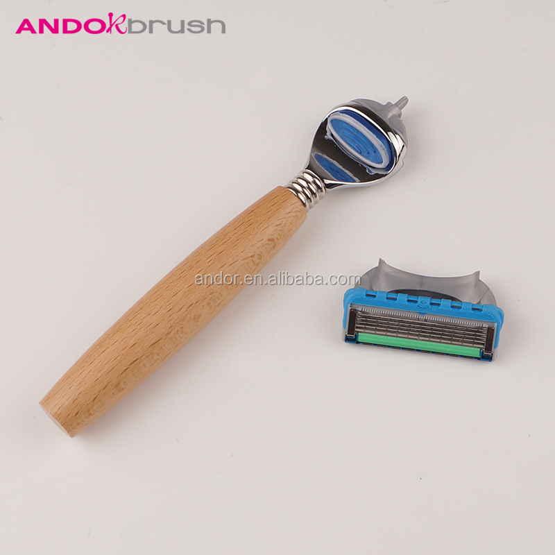 Wooden handle 5 blades men shaving safety razor