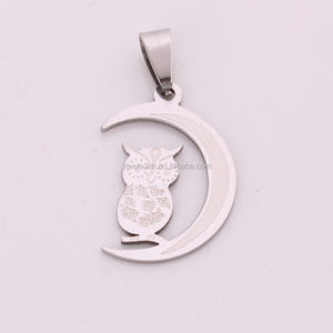 IMG 3194 Yiwu Huilin Jewelry Wholesale 316L Stainless Steel Moon and Owl custom design metal necklace pendant