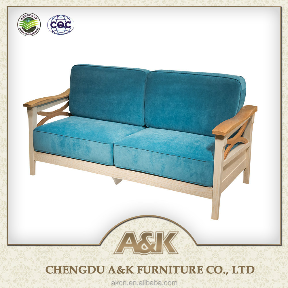 2016 latest living room furniture wooden two seats sofa for Latest drawing room furniture