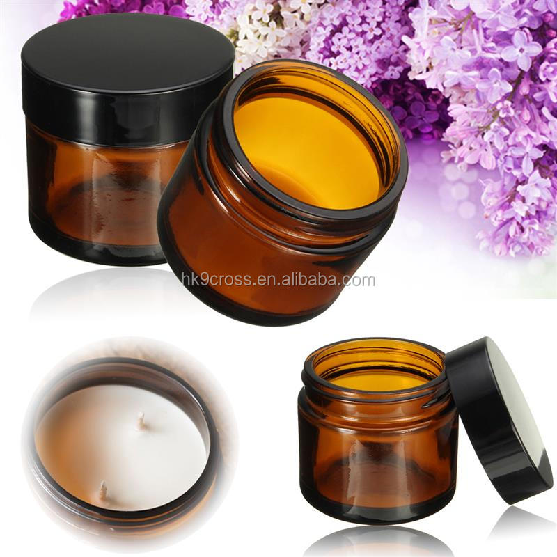 60ml Amber Glass Jar Pot Skin Care Cream Refillable Bottle Cosmetic Container Makeup Tool With Black Lid For Travel Packing