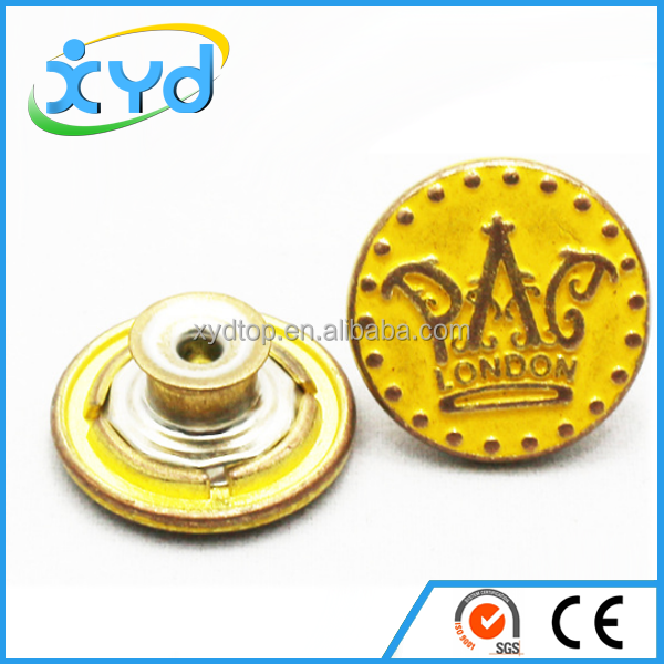 Wholesale embossed engraved snap button metal snap button jeans button for garments