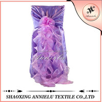 Wholesale purple satin chair cover and organza sashes