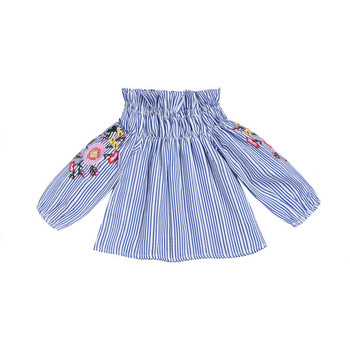 Girls long sleeve summer new flower embroidery striped round neck shirt