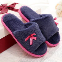 Hottest design nice color women slippers faux fur flip flops
