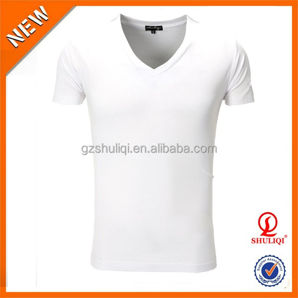 Well design V collar blank spandex/cotton/polyester sublimation Quick Dry t shirt