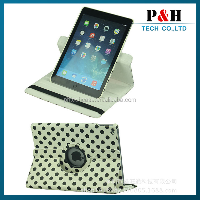 fashion case for ipad, Leather 360 Rotating Case Smart Cover for iPad Air for ipad 5