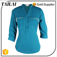 Apparel supplier Latest design Custom Beautiful office blouse ladies