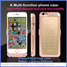 3500mah Slim Protective Charging Case, battery case with SIM card slot for Apple iPhone 6, 6s Become dual card dual standby