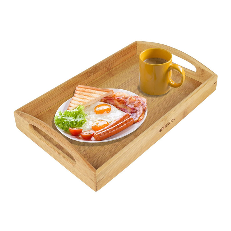 Food serving wooden tray with handle for bed breakfast