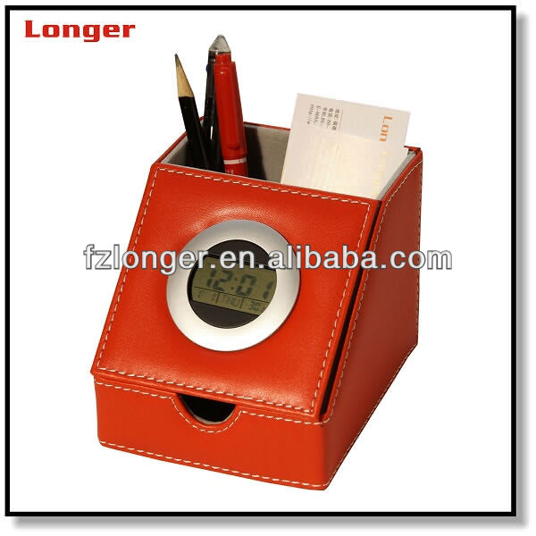 Modern pen holder with note box and LCD clock LG-B001C
