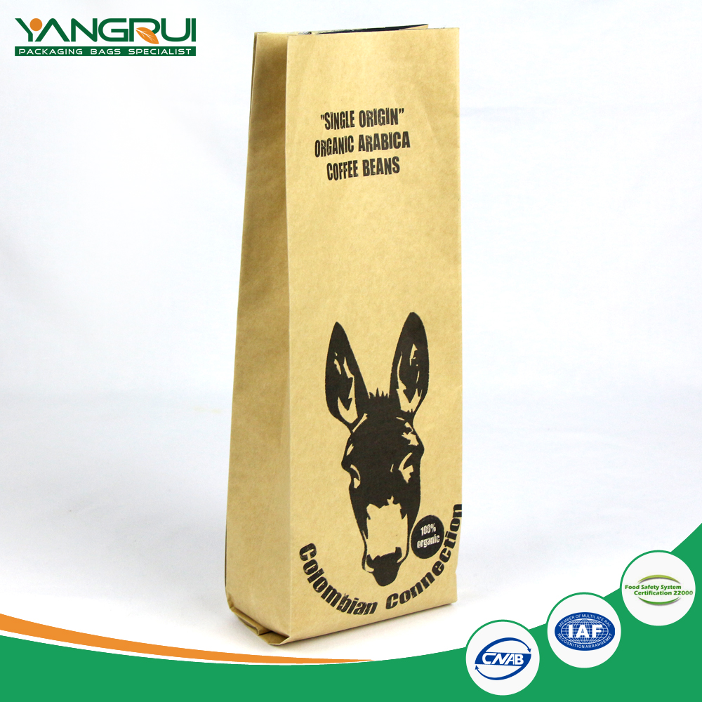 Coffee packaging paper with aluminum foil bag bottom gusset zip top design