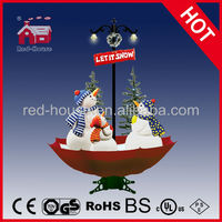 Smart Led lights with artistic christmas snowman, Snowing Christmas Snowman Family with umbrella base with LED lights and tree