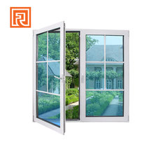 Aluminum casement window with glass grid inside design