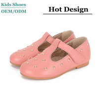 2015 Spring fashion girls dress shoes with metal dots on upper kids t rivet shoes