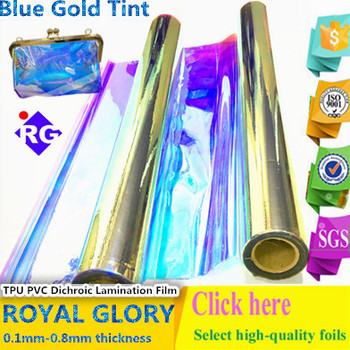 0.4mm Royal Glory PVC Dichroic Transparent Film for Making Various Bags
