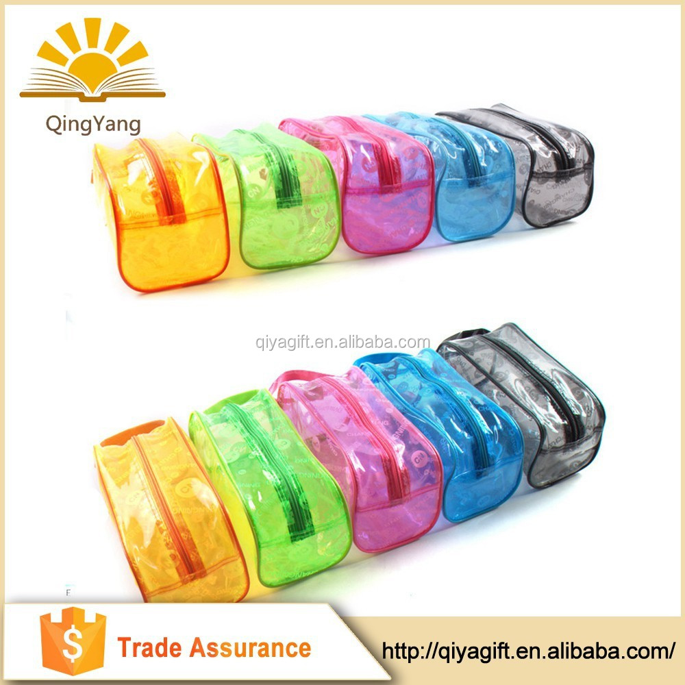 Wholesale fashion custom korean cosmetic transparent pvc pencil bag with zipper closure