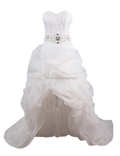 European beaded white ball gown tiered front short long back wedding dresses with long train