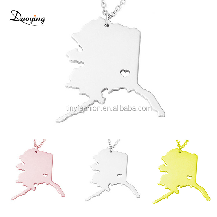 N010 Gold/Rose Gold/White Gold Three Tones Fashion Popular Alaska State Map Pendant Necklace Minimalist Jewellery