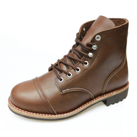 High quality brown full grain leather goodyear welted fashionable men working boot