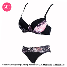 printing stylish cute cheap pushup bra and panty set hot selling beaty underwear bralette menstrual period panty bikini