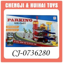 rolling playing set toy parking lot with 2 diecast car and 1 plane