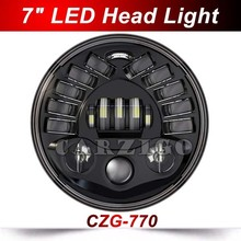 "CZG-770 2017 newest hot 70w/45w 7"" round led headlight for jeep wrangler for harley davidson with white amber DRL hi/low beam"