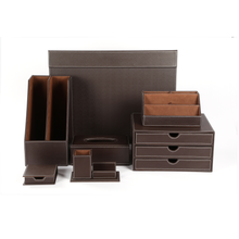 Leather Office Supplies Luxury Brown Business Leather Office Stationery Desk Set