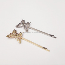 H36-019 2016 gold and silver girls beautiful metal butterfly bobby pins dazzle <strong>hair</strong> <strong>accessories</strong>