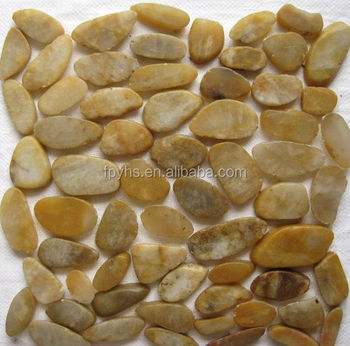 yellow sliced mesh pebble stone