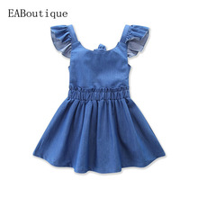 2017 New fashion Boutique summer girls clothes with children frocks designs children Flying sleeve denim cute dress